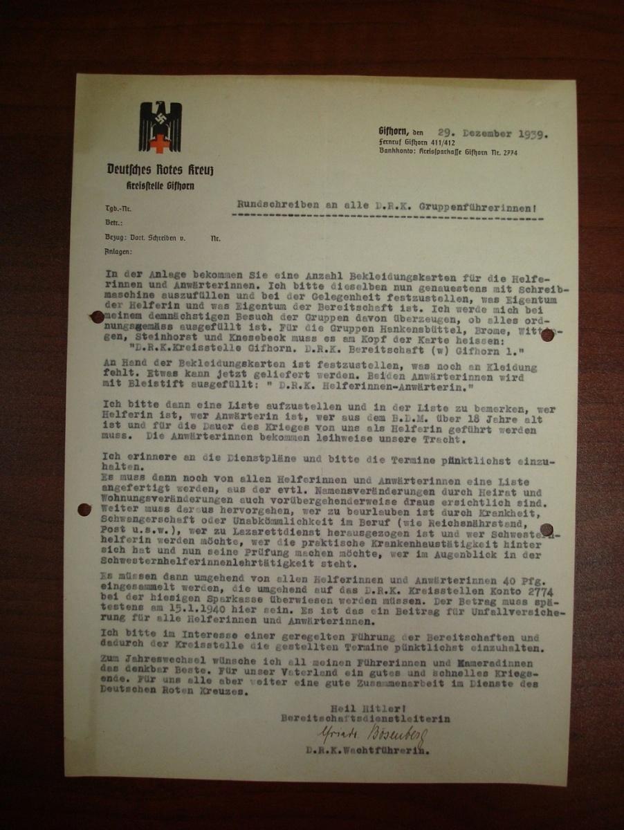 Циркулярное письмо всем DRK Группенфюрерин