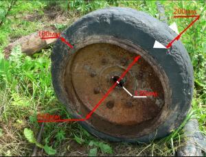 Обрезининное колесо  с тормозным барабаном