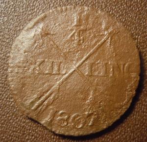 1/4 скиллинга 1807 года. Швеция.