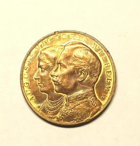 Настольная медаль в честь серебряной свадьбы императора Вильгельма II и императрицы Августы Виктории.