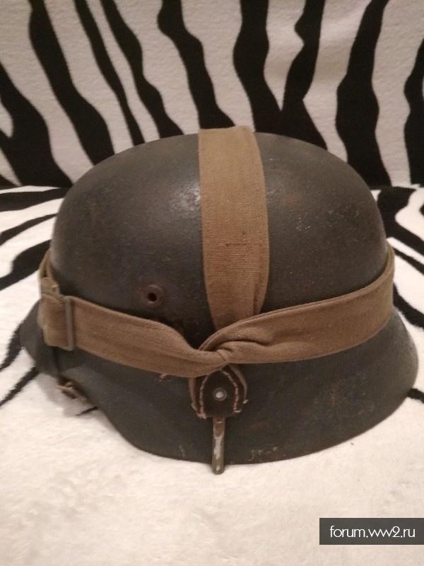 Шлем м 40. Кригсмарин с ремнем от сухарки.