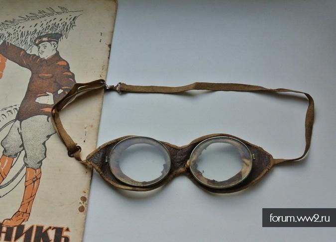 Мото-очки защитные автомобильные, лётные.  Оригинал до 1917 года.  Первая Мировая?  Оправа стальная + кожа и брезент.  Стекла целые, без повреждений.