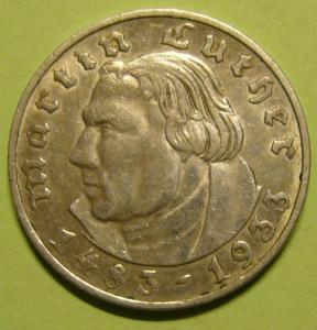 2 марки 1933 г. Мартин Лютер. МД Мульденхюттен.
