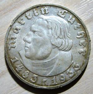 5 марок 1933 г. Мартин Лютер. МД Мюнхен