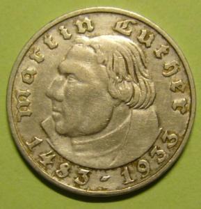 2 марки 1933 г. Мартин Лютер. МД Штутгарт.