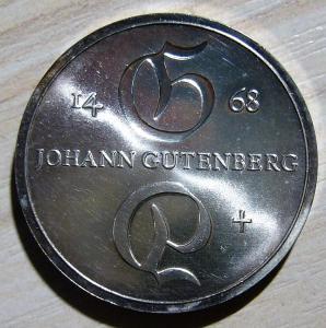 10 марок 1968 г. ГДР. Иоганн Гутенберг