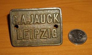 Шильдик G.A.JAUCK LEIPZIG.