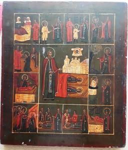Икона Святой Преподобный Сергий Радонежский со сценами жития 19 век