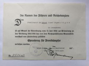 Наградной документ к почетному кресту Гинденбурга с мечами 1937г.