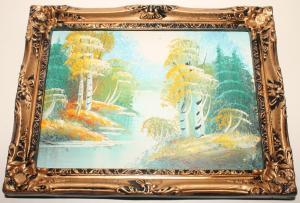 ейзаж: Осенний лес. Картина Маслом. в узорчатой Раме. Барокко. Винтаж