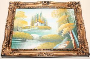 Картина маслом в красивой раме Барокко. Домик у реки. Пейзаж. Ретро стиль