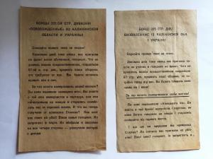 Лот из 2х листовок на разных языках.