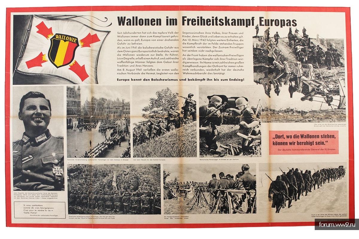 """Большой плакат бельгийского добровольческого легиона Вермахта """"Валлонцы в борьбе за свободу Европы"""""""