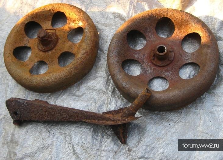 Колеса и сошка от миномета БМ-41