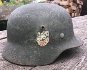 Шлем немецкий м35. Подписная двухдекалка