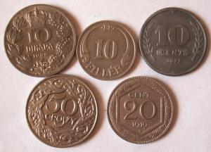 5-ть нечастых монет разных стран.Одним лотом