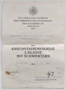 Наградной документ на КВК 2 класса с мечами