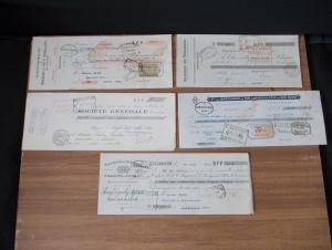 5 антикварных старинных векселей Франции 1921-1922 одним лотом.