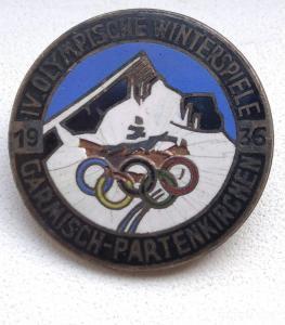 Памятный знак зимних олимпийских игр 1936 года Гармиш-Партенкирхен 27 мм