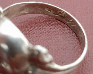 Перстень череп , серебро 830 проба ( коп)