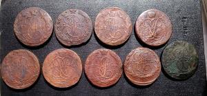 Лот из 9 монет пятаков Елизаветы и Екатерины II