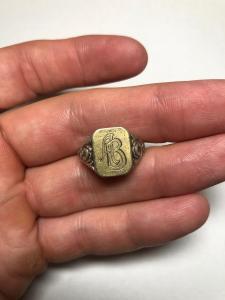 немецкое серебряное кольцо, инициалка