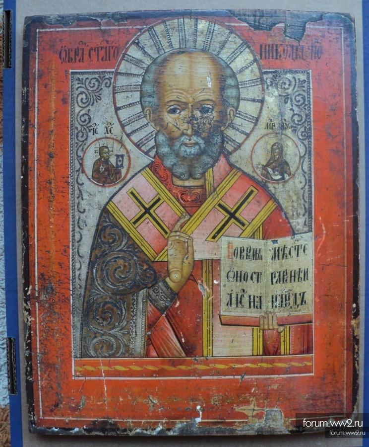 Икона Св. Николай Чудотворец. 33 х 41 см. Выразительный лик.