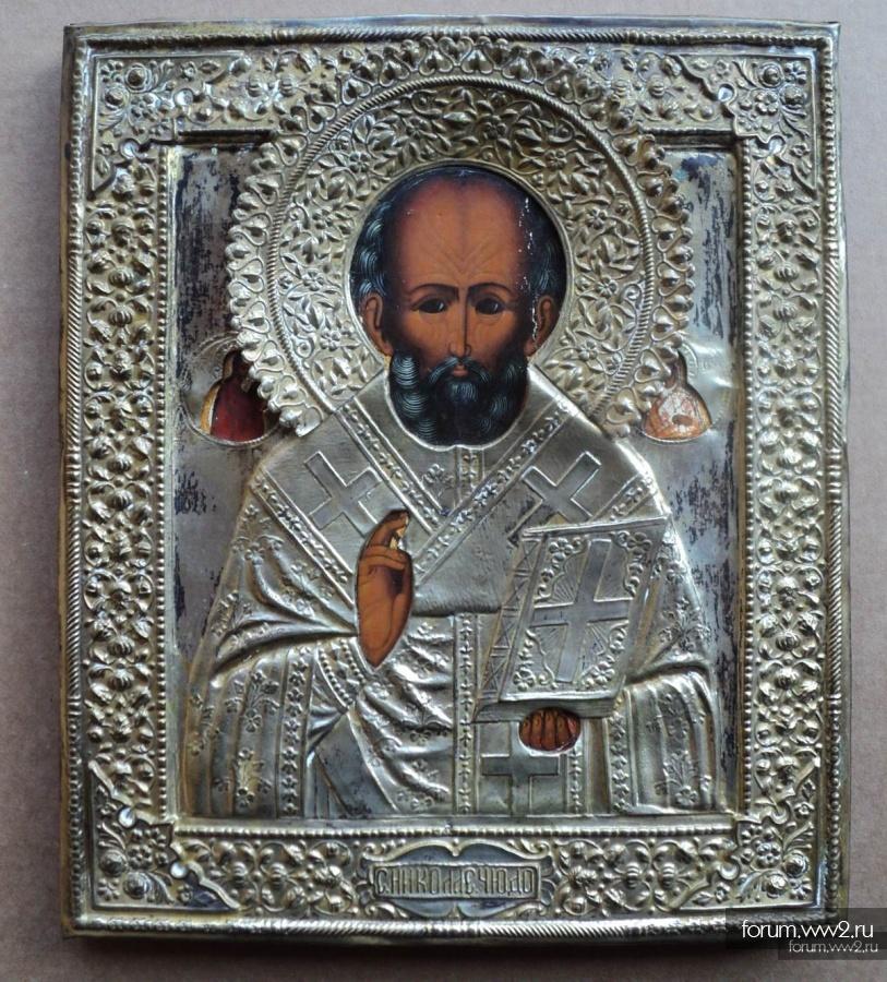 Старинная икона Св. Николай Чудотворец. Аналой, оклад, золочение.