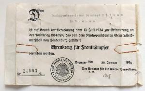 Наградной документ к кресту Гинденбурга с мечами