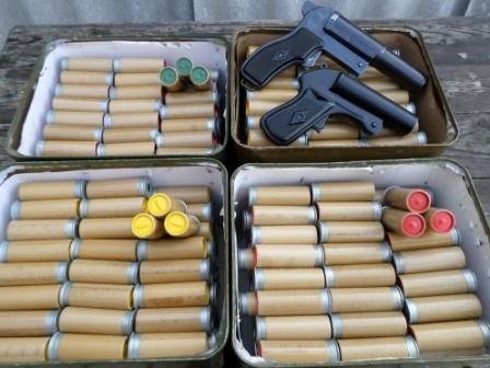 Сигнальные пистолеты / ракетницы 4 калибра (26 мм), сигнальные, осветительные патроны СП-26, РСП-30, РОПуд-30, РОПуд-40, кобуры, ЗИП.