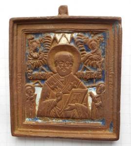 Иконка. Святой Николай чудотворец.(2 эмали).