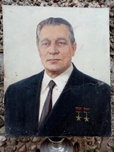 Большой портрет Д.Ф. Устинова (художник Сорокин) масло,холст.