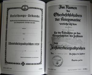 Награды Кригсмарине и Наградные документы 3-го Рейха