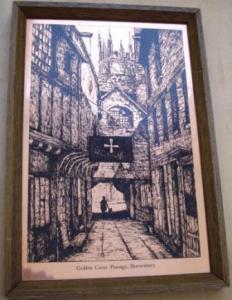 """Английская гравюра """"Golden Cross Passage Shrewsbeury"""""""
