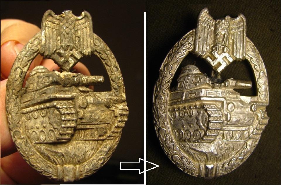 Очистка от налёта на цинковых знаках с покрытием (серебрение, бронзирование)