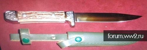 Немецкий охотничий нож с травлением на лезвии.