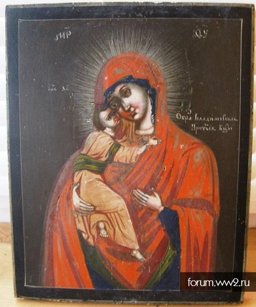 Икона Владимирская Пресвятая Богородица 1840-1860 гг. Горбуновка Холуй 19 век