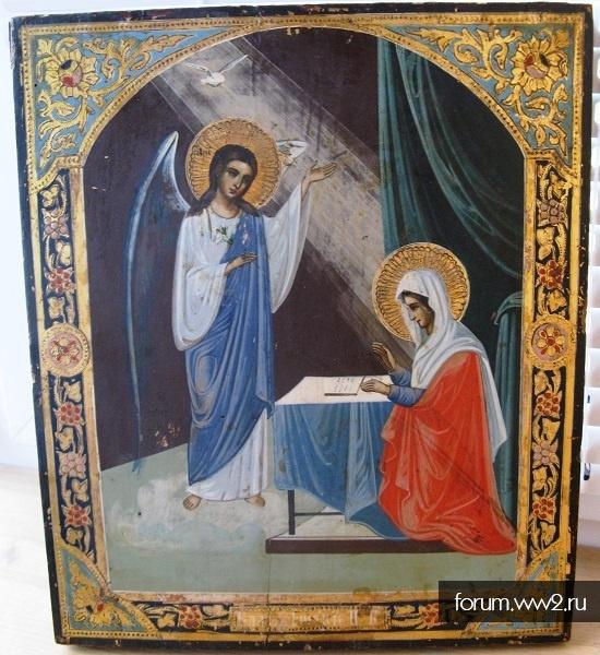 Икона Благовещение Пресвятой Богородицы 19 век сусалка
