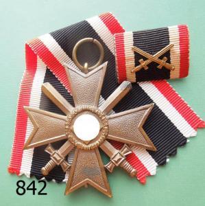 842. Крест военных заслуг с мечами + полевая планка
