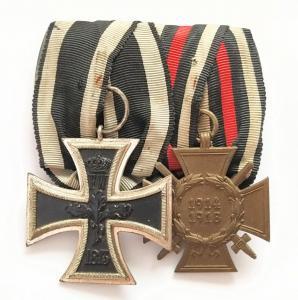 Колодка на 2 награды. Редкий железный крест.
