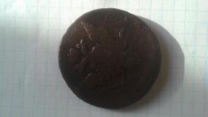 Перечекан монеты Петра третьего 10 копеек на барабанах в Катин пятак.